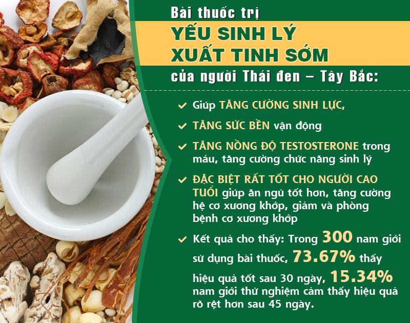 Bài thuốc trị yếu sinh lý, xuất tinh sớm của người Thái Đen thể hiện nhiều ưu điểm vượt trội