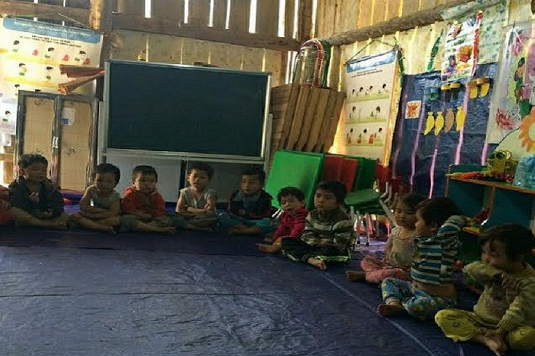 Lớp học của các em mầm non xã Tân Hòa