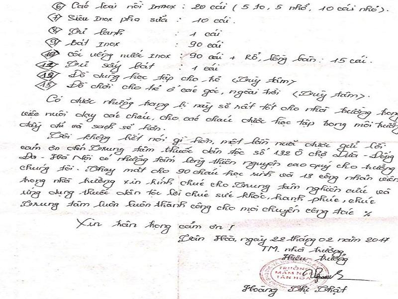 Lá thư tay của cô giáo Hoàng Thị Thật gửi đến Trung tâm