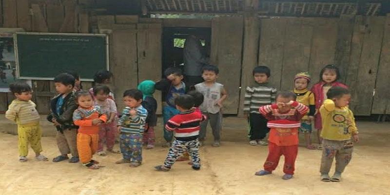 Các cháu học sinh trường mầm non xã Tân Hòa