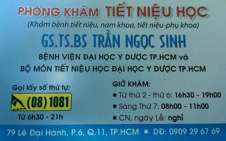 Thông tin về Phòng khám Ngoại Tiết niệu - Bác sĩ Trần Ngọc Sinh, số 79 lê Đại Hành