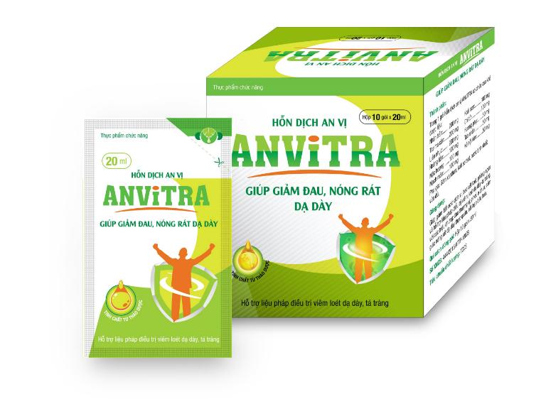Anvitra điều trị các triệu chứng và bệnh lý về đường tiêu hóa như viêm loét dạ dày - tá tràng, trào ngược axit,...