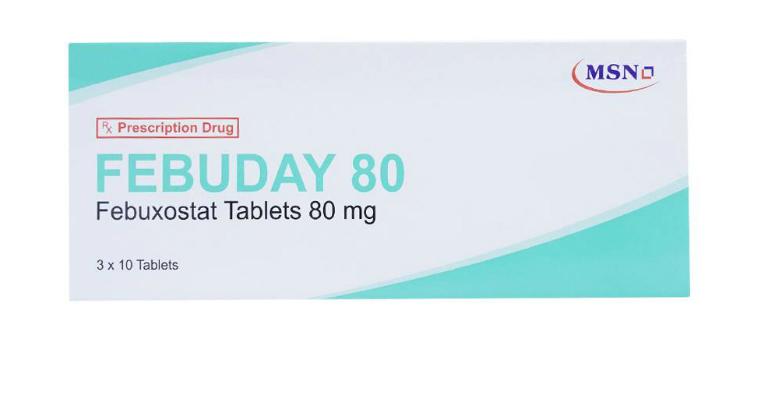Thuốc Febuday có chứa hoạt chất Febuxostat (hàm lượng: 40mg và 80mg).