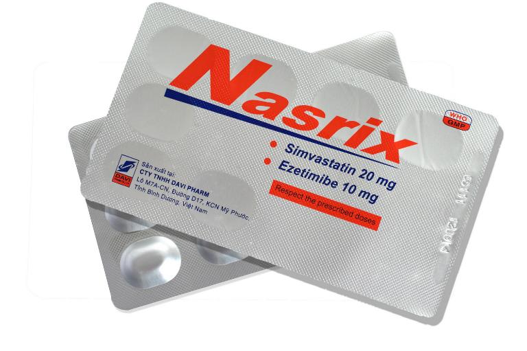 Thuốc hỗ trợ điều trị cholesterol trong máu Nasrix do công ty Đạt Vi Phú sản xuất. Mỗi hộp chứa: 4 vỉ x 7 viên.