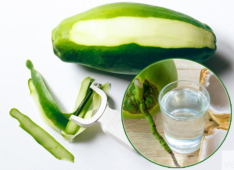 Bài thuốc chữa gout bằng đu đủ xanh và nước dừa tươi