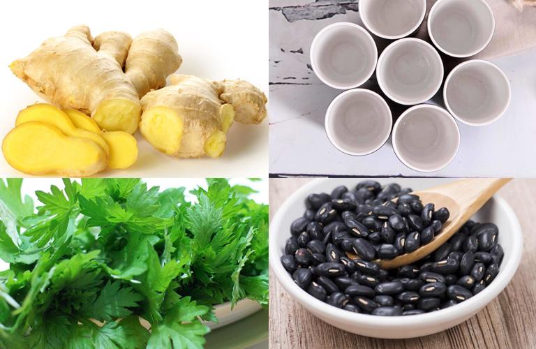 Bài thuốc chườm đậu đen, gừng tươi, rượu trắng và ngải cứu chữa bệnh thoái hóa cột sống