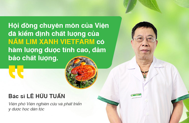 Bác sĩ Lê Hữu Tuấn là người trực tiếp đánh giá, kiểm nghiệm sản phẩm Nấm lim xanh Vietfarm