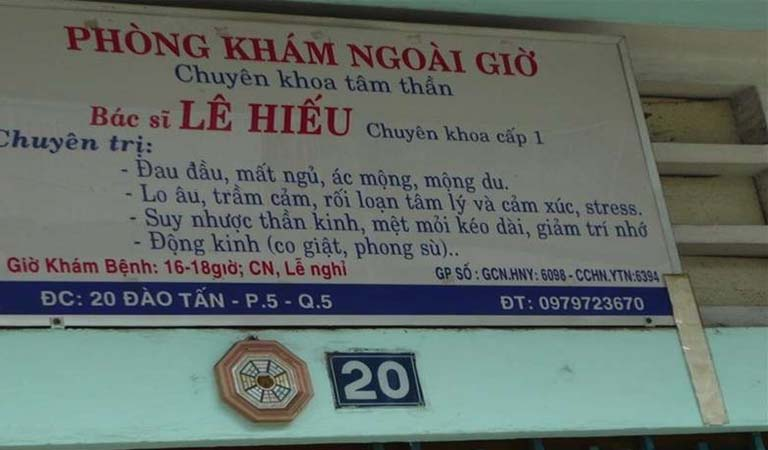 Phòng khám ngoài giờ Bác Sĩ Lê Hiếu tọa lạc tại 20 Đào Tấn, phường 5, quận 5, TPHCM.