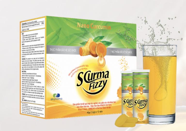 Thuốc SCurma-Fizzy được bào chế ở dạng viên sủi hòa tan, do Công ty Cổ phần Elepharma sản xuất và phân phối.