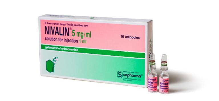 Thuốc Nivalin điều trị suy giảm trí nhớ, sản xuất tại Bulgari.