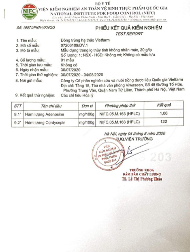 Giấy kiểm định hàm lượng hợp chất quý trong ĐTHT Vietfarm