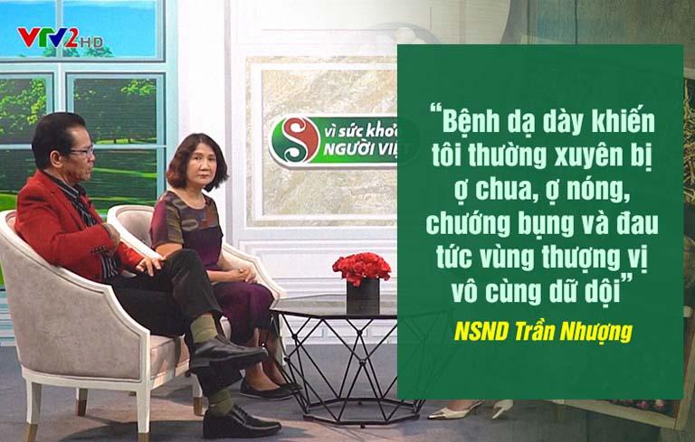 NSND Trần Nhượng chữa đau dạ dày tại Thuốc dân tộc sau khi gặp BS Tuyết Lan tại chương trình Vì sức khỏe người Việt
