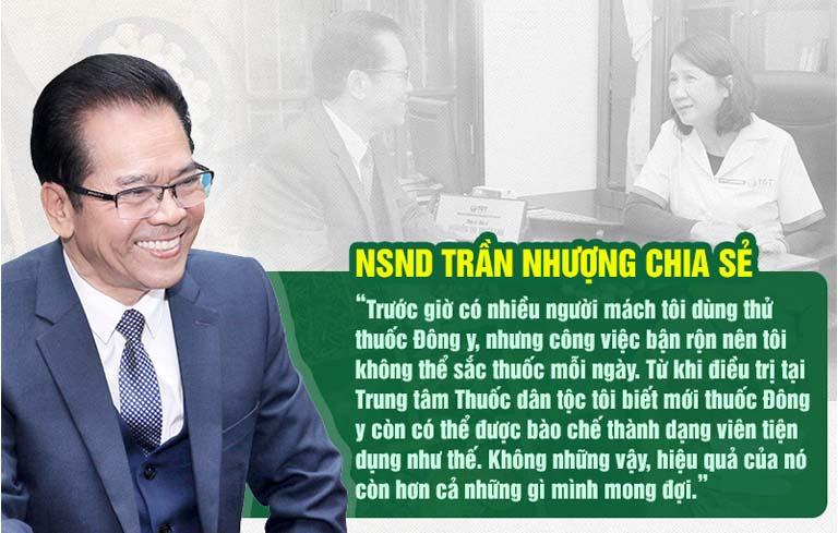 NSND Trần Nhượng chia sẻ kết quả điều trị trào ngược dạ dày tại Trung tâm Thuốc dân tộc