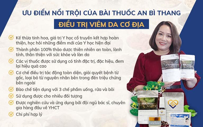 Bộ sản phẩm An Bì Thang đang được ứng dụng điều trị viêm da cơ địa cho người bệnh tại Trung tâm Da liễu Đông y Việt Nam