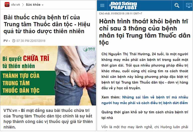 Báo chí nói về chất lượng chữa bệnh trĩ tại Trung tâm Thuốc dân tộc