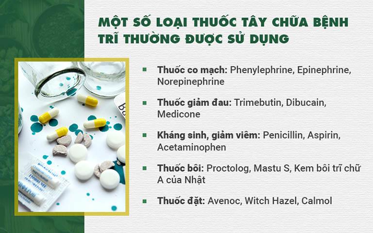 Một số loại thuốc Tây y phổ biến được sử dụng để chữa bệnh trĩ