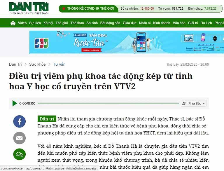 Trên trang Dân trí cũng đăng tải bài viết về bác sĩ Thanh Hà sau khi bà được mời tham gia tư vấn trong chương trình Sống khỏe mỗi ngày trên VTV2