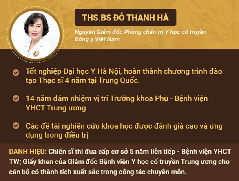 Bác sĩ Đỗ Thanh Hà - một trong những bác sĩ YHCT có chuyên môn cao và giàu kinh nghiệm