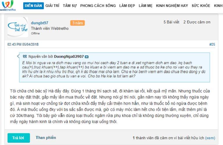 Trên diễn đàn webtretho cũng xuất hiện nhiều bài review của người bệnh sau khi thăm khám với bác sĩ Thanh Hà