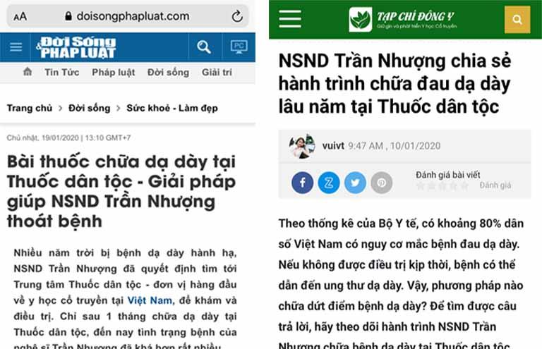 Báo chí đưa tin về hành trình chữa khỏi bệnh dạ dày của NSND Trần Nhượng tại Thuốc dân tộc