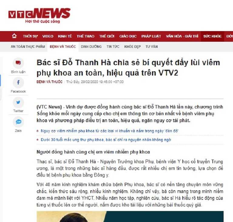 Bác sĩ Đỗ Thanh Hà được nhắc đến trong một bài báo của VTC News
