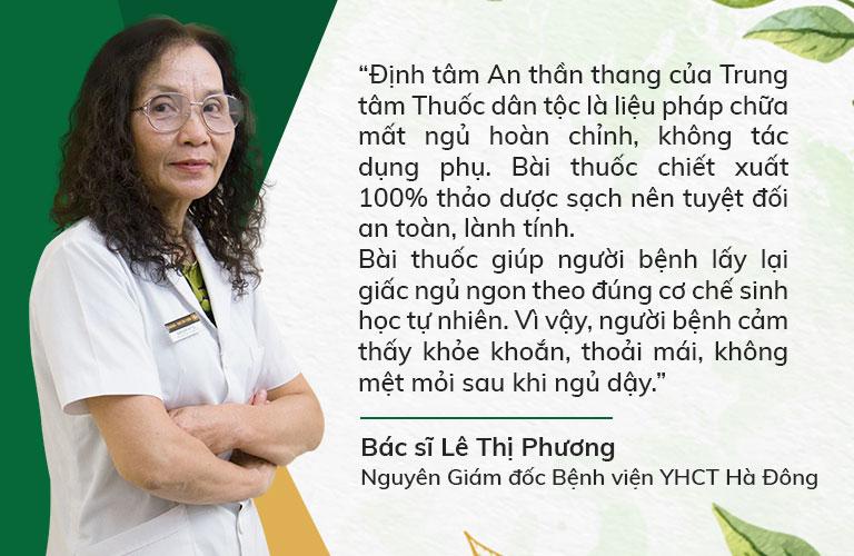 Bác sĩ Lê Thị Phương đánh giá cao nguyên lý trị bệnh của Định tâm An thần thang