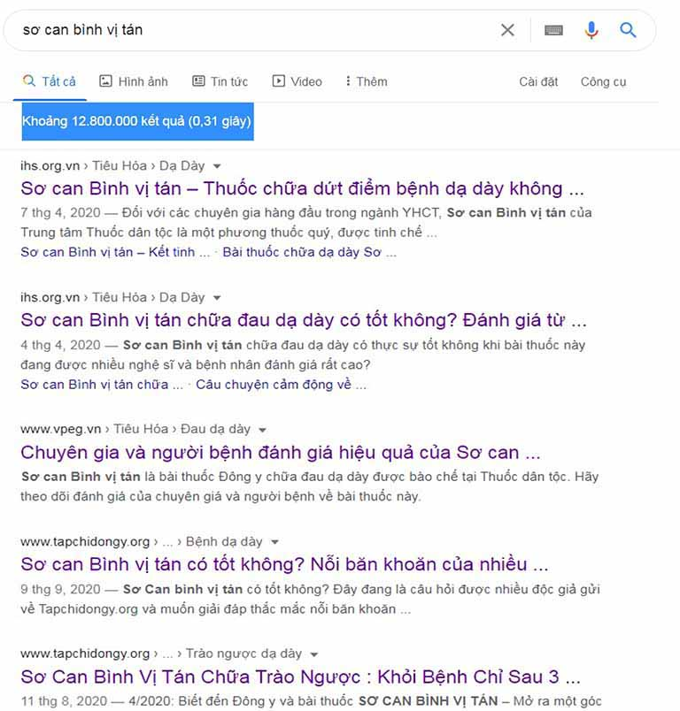Lượng tìm kiếm bài thuốc chữa dạ dày của Trung tâm Thuốc dân tộc trên Google