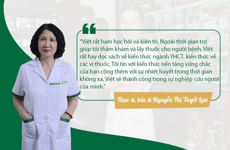 Bác sĩ Tuyết Lan dành nhiều lời khen cho lương y Nguyễn Thị Việt