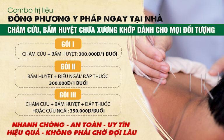 Phân chia từng gói nhỏ trong combo dịch vụ trị liệu châm cứu bấm huyệt tại nhà