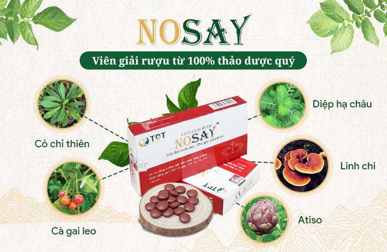 Nosay không chứa bất cứ thành phần hóa dược nào
