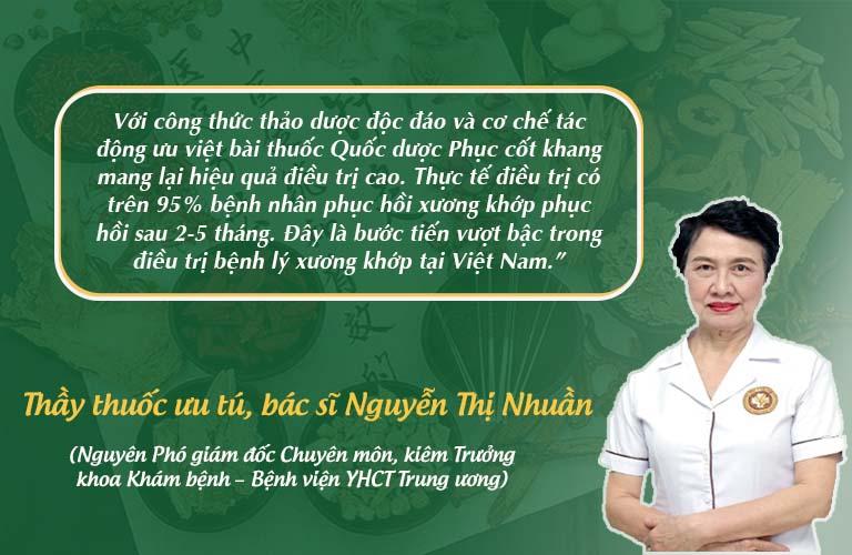 Thầy Thuốc ưu tú, bác sĩ Nguyễn Thị Nhuần đánh giá cao hiệu quả bài thuốc Quốc dược phục cốt khang