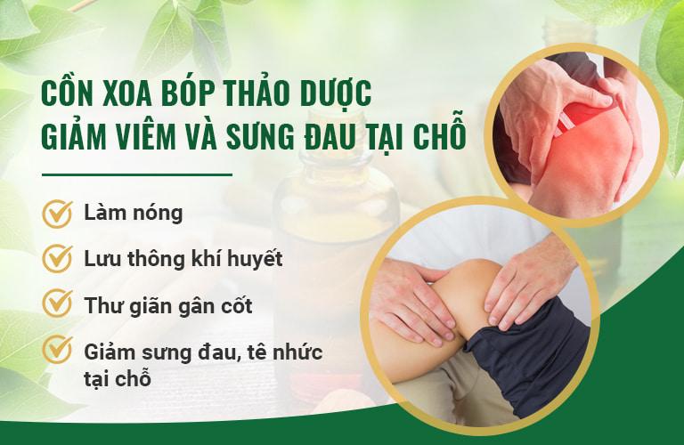 Cồn xoa bóp thảo dược có tác dụng giảm sưng viêm tại chỗ