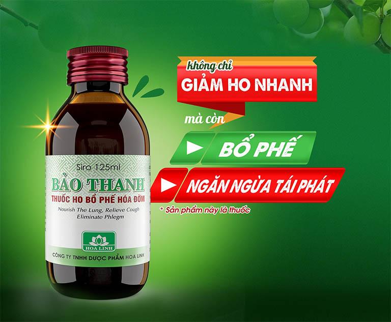 Sản phẩm siro Bảo Thanh của công ty Dược phẩm Hoa Linh không chỉ có tác dụng giảm ho nhanh mà còn bổ phế và có tác dụng ngăn ngừa tái phát