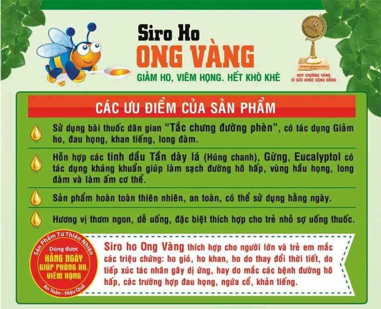 Siro ho Ong Vàng được đánh giá cao công dụng bởi sản phẩm mang lại nhiều ưu điểm vượt trội