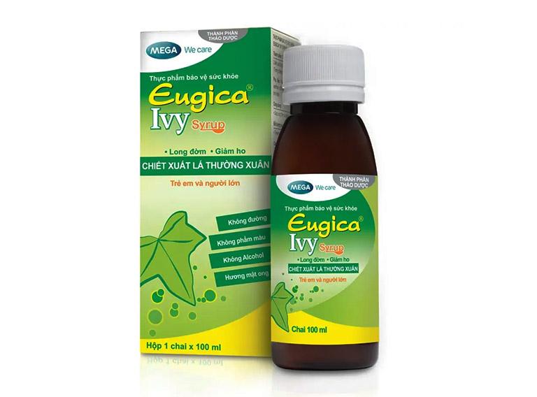 Sản phẩm Eugica Ivy của hãng Mega Thái Lan được chiết xuất từ lá thường xuân với công dụng hỗ trợ làm giảm ho và long đờm